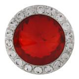 20MM Broche redondo plateado con diamantes de imitación rojos KC9835 broches de joyería