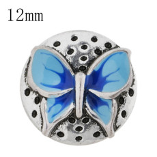 12mm Butterfly Small size snaps with blue Enamel for chunks jewelry