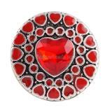 Botón a presión 20MM Heart Love Chapado en plata antigua con joyería a presión de vidrio rojo