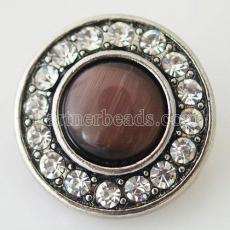 20MM Round snap Antique Silver Plated with brown rhinestone and Natural stone KB8733 snaps jewelry
