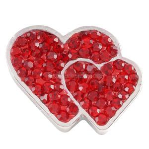 20mmバレンタインラブハートスナップと赤いラインストーンKC4014スナップジュエリー