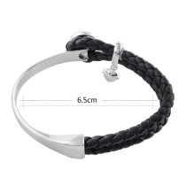 Black real leather and alloy with rhinestone KS1108-S new type bracelets fit 12mm snaps chunks