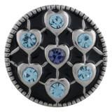 Cœur 20MM en métal argenté avec strass bleu et émail KC5541 s'encliquette bijoux