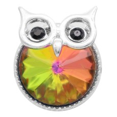 20MM Owl snap silver Plated with  multicolor rhinestone KC6943