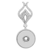 sliver Pendant with rhinestone fit 20MM snaps style jewelry KC0421