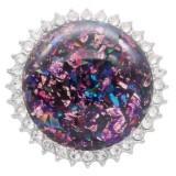 25MM Hecho a mano Grueso brillante redondo Ámbar complemento Plateado con diamantes de imitación KC7959 púrpura