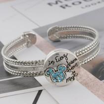 20MM Cartoon snap plateado con diamantes de imitación azules KC6507 broches de joyería