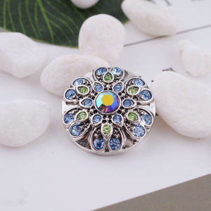 20MM design snap silver Antique plated with blue rhinestone KC5316 snaps jewelry