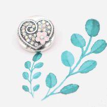 20MM loveheart snap argenté avec émail strass rose KC7793 snaps bijoux