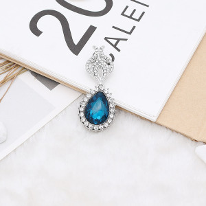 20MM design snap Silver Plated with cyan rhinestone KC9917 snaps jewelry