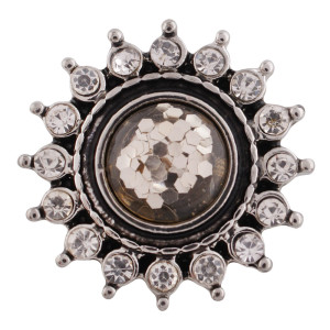 Кнопка оснастки с дизайном 20MM Античное серебро, покрытое стразами и коричневыми бусинами KC9737