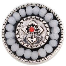 20MM Kreuz Druckknopf Antik Silber Überzogen mit weißem Opal KC9697 Druckknopf