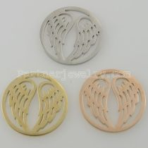 33MM stainless steel coin charms fit  jewelry size wings