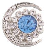 20MM broche de luna plateado con diamantes de imitación azules KC6358 broches de joyería