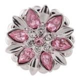 Bouton design 20MM plaqué argent avec strass rose KC5512 s'encliquette bijoux
