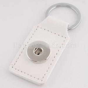 los botones blancos del llavero de la moda de la PU Leater caben los pedazos de los broches KC1110 Snaps Jewelry