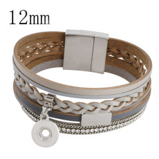 Partnerbeads 20cm 1 snap button real leather bracelets fit 12mm snaps with grey leather and charm KS0614-S