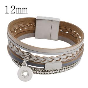 Partnerbeads 20cm 1 Druckknopf Echtlederarmbänder passen zu 12mm Druckknöpfen mit grauem Leder und dem Charm KS0614-S
