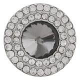 20MM Broche redondo plateado con diamantes de imitación grises KC9886 broches de joyería