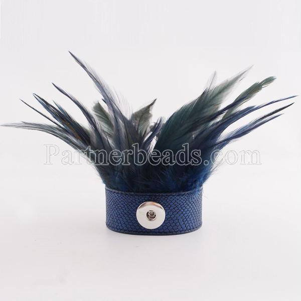 Partnerbeads 21cm 1 застегивает кнопку кожаные браслеты королевского синего цвета с посадкой на перьях 18 / 20mm застегивает KC0023