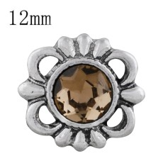 12MM design snap sliver plated with brown Rhinestone KS6303-S snaps jewelry