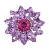 20MM flor complemento chapado en plata con diamantes de imitación púrpura KC9810 complemento joyería