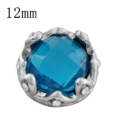 12MM Crown snap sliver Plated with blue rhinestone KS9704-S snaps jewelry
