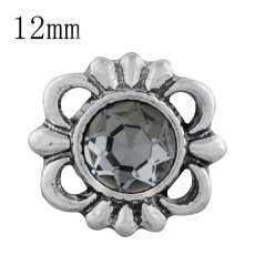 12MM design snap sliver plated with gray Rhinestone KS6298-S snaps jewelry