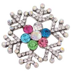 20MM Christmas snow flake snap Silver Plated with Rhinestone KC8771 snaps jewelry