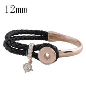 Cuero real negro y aleación con diamantes de imitación KS1154-S pulseras de oro rosa en forma de trozos de broches 12mm