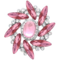 20MM design snap Silver Plated with pink rhinestone KC7927 snaps jewelry