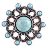 Broche de flores 20MM Plateado plata antigua con diamantes de imitación y turquesa cian KC7108 broches de joyería