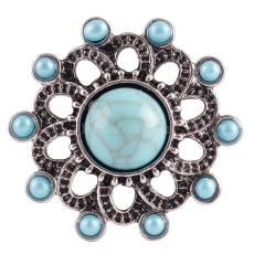 20MM flower snap  Antique Silver Plated with  rhinestone and cyan Turquoise KC7108 snaps jewelrysnaps