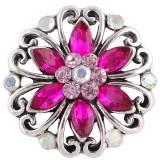 Diseño 20MM complemento Chapado en plata antigua con diamantes de imitación rosa-rojo KC8722 broches de joyería