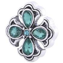 20MM Cross snap Antique Silver plated with green Rhinestones KC6263 snaps jewelry
