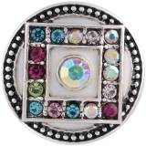 20MM round snap Antique Silver Plated with colorful  Rhinestone and  Enamel KC8756 Multicolor