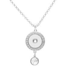 A large diamond Pendant Necklace with 60CM chain KC1070 fit 20MM chunks snaps jewelry