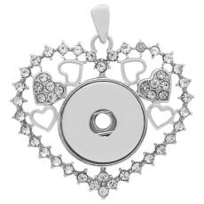 ラブオープンワークシルバースライバーペンダントラインストーンフィット20MMスナップスタイルジュエリーKC0425