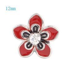 12MM Flower Snap Versilbert mit Strass und roter Emaille KS6030-S Snaps Schmuck