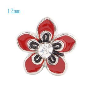 12MM Flower snap Silver Plated with  rhinestone and red enamel KS6030-S snaps jewelry