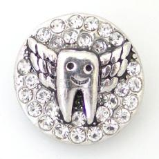 20MM Dent pression Antique Argent plaqué avec strass KB6468 s'enclenche bijoux