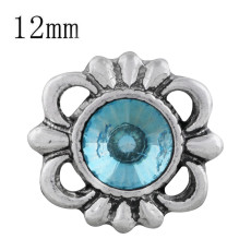 12MM design snap sliver plated with blue Rhinestone KS6306-S snaps jewelry