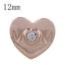 12MM mother Rose Gold Plated with white rhinestone KS5233-S snaps jewelry