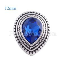 12MM Drop snap Antique Silver Plated with deep blue rhinestone KS6131-S snaps jewelry