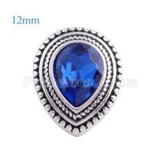 12MM Drop snap Chapado en plata antigua con diamantes de imitación azul profundo KS6131-S broches de joyería