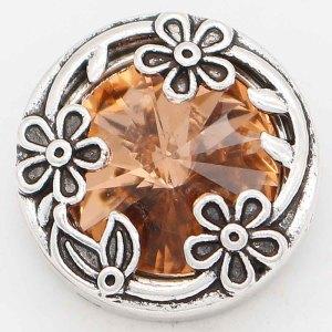 Diseño 20MM chapado en plata con diamantes de imitación naranja KC6737 broches de joyería