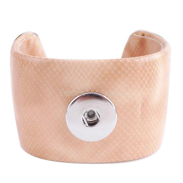 Partnerbeads brazalete de cuero naranja claro brazalete en forma de broches de presión KC0011 pulseras con dijes