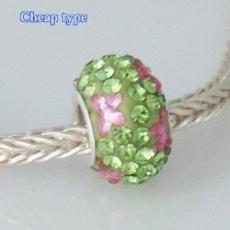 Perles strass type bon marché avec noyau plaqué argent