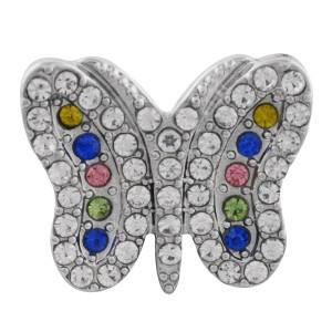 Astilla de mariposa 20MM plateada con diamantes de imitación de colores KC9848 broches de joyería