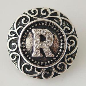 20MM английский алфавит-R оснастка Античное серебро, покрытое стразами KB6271 оснастки ювелирные изделия